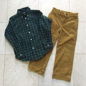 RALPH LAUREN green plaid shirt & tan cord pants 5